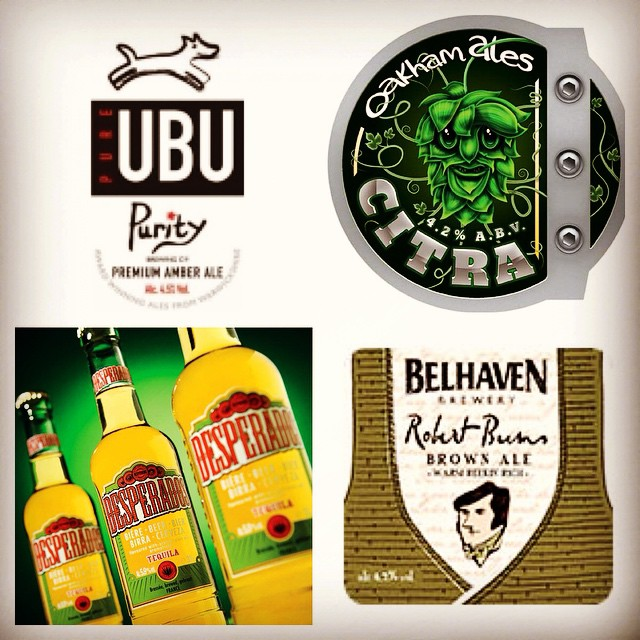 New beers this month! #desperados #tequila #oakham #brewery #citra #belhaven #ale #robertburns #purity #ubu #beer #lager #brew #stroudgreen #finsburypark #crouchend #antic #anticlondon @anticlondon