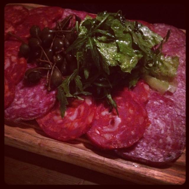 Meat platter with caper berries. Yum. #meat #salami #caper #berries #board #food #pub #pubfood #pubgrub #bar #stroudgreen #finsburypark #crouchend #london #londonpub #local #antic #anticlondon @anticlondon